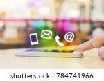 woman hand pushing button... | Shutterstock . vector #784741966