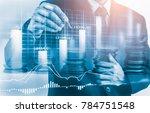 double exposure businessman and ... | Shutterstock . vector #784751548