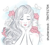 portrait of young beautiful... | Shutterstock .eps vector #784751704