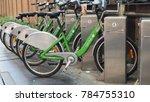 Small photo of BANGKOK - JANUARY 1, 2018: Bicycle Sharing System Pun Pun available at designated stations on January 1, 2018 in Thai capital Bangkok.
