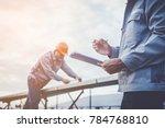 engineer checking job routine... | Shutterstock . vector #784768810