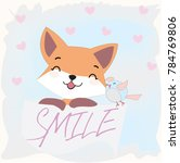 Stock vector vintage happy smile baby fox wolf or dog and bird in light blue and pink illustration cartoon 784769806