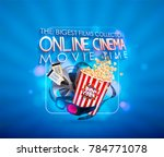 set of popcorn  3d glasses ... | Shutterstock .eps vector #784771078