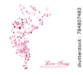 notes and hearts. love music... | Shutterstock .eps vector #784807483