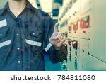double exposure of  engineer or ... | Shutterstock . vector #784811080