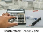 close up accountant with... | Shutterstock . vector #784812520