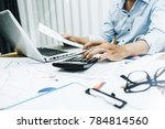 business man working in the... | Shutterstock . vector #784814560