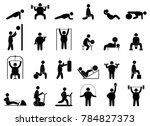 fat man fitness training.... | Shutterstock .eps vector #784827373