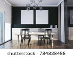 wooden table with black chairs... | Shutterstock . vector #784838488