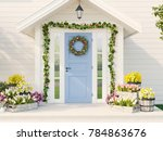 3d rendering. spring decorated... | Shutterstock . vector #784863676