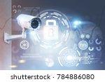 modern cctv camera on a wall. a ...   Shutterstock . vector #784886080