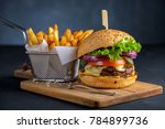 tasty grilled beef burger with... | Shutterstock . vector #784899736
