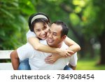 happy young couple together... | Shutterstock . vector #784908454