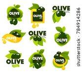 green olive leaves  lettering...   Shutterstock .eps vector #784914286