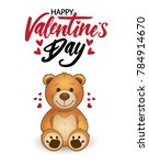 funny cartoon teddy bear with... | Shutterstock .eps vector #784914670