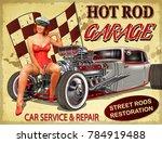 vintage hot rod garage poster. | Shutterstock .eps vector #784919488