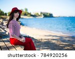 young attractive woman in red... | Shutterstock . vector #784920256