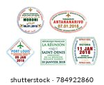 set of stylised passport stamps ... | Shutterstock .eps vector #784922860