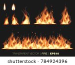 collection of realistic fire... | Shutterstock .eps vector #784924396