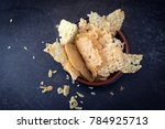 crisp parmesan cheese chips ...   Shutterstock . vector #784925713