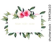 watercolor red roses and green... | Shutterstock . vector #784926610