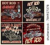 set of vintage hot rod metal... | Shutterstock .eps vector #784927378