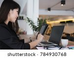 businesswoman use tablet at