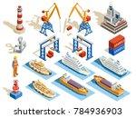 seaport isometric set of...   Shutterstock . vector #784936903
