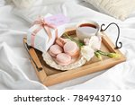 wooden tray with breakfast and... | Shutterstock . vector #784943710