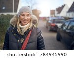 smiling happy middle aged woman ... | Shutterstock . vector #784945990
