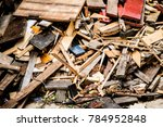 pile of rubble and building... | Shutterstock . vector #784952848