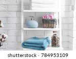 clean towels with soap... | Shutterstock . vector #784953109