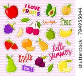 set of cute fruits in the form... | Shutterstock . vector #784955044