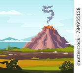 wild landscape with volcano and ... | Shutterstock . vector #784955128