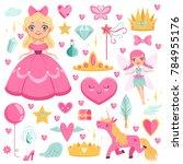 princess with fairytale unicorn ...   Shutterstock . vector #784955176