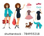 character of hipster young girl ... | Shutterstock . vector #784955218