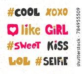 cute xoxo like girl sweet kiss...   Shutterstock .eps vector #784955509