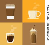 coffee cup drink icons set... | Shutterstock .eps vector #784957969