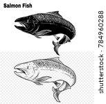 salmon art highly detailed in... | Shutterstock .eps vector #784960288