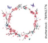 watercolor spring round frame ... | Shutterstock . vector #784961776