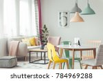 pastel lamps above wooden round ...   Shutterstock . vector #784969288