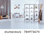 wooden ladder and table against ...   Shutterstock . vector #784973674