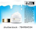 cosmetic ad cream milk drop... | Shutterstock .eps vector #784984534