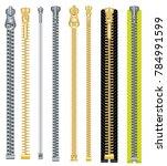 metal and plastic zipper set...   Shutterstock .eps vector #784991599