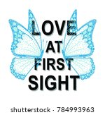 shiny butterfly with slogan  | Shutterstock . vector #784993963