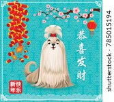 vintage chinese new year poster ... | Shutterstock .eps vector #785015194