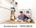 laudry room with a pile of... | Shutterstock . vector #785018818