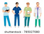 male doctor in white coat and... | Shutterstock . vector #785027080