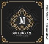 vintage luxury monogram banner... | Shutterstock .eps vector #785027869