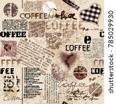 coffee. abstract coffee pattern ... | Shutterstock .eps vector #785029930